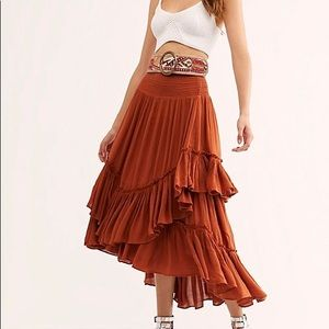 Free People Orange Convertible Flowy Maxi Skirt